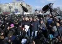 Protests had an impact. Speaking out: opposition leaders Sergei Udaltsov and Boris Nemtsov address a rally for fair elections in Pushkin Square. Source: Photoshot / Vostock Photo