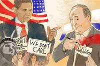 Putin's new foreign policy: strategy and self-interest. Drawing by Natalia Mikhaylenko