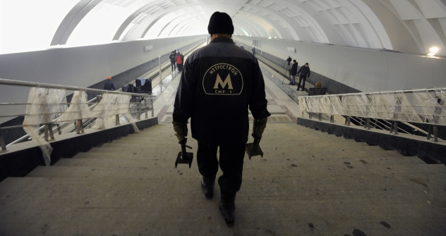 The construction of the Mitino metro station in Moscow in December 2009. Pictured: Metrostroi construction worker at the construction site of Mitino metro station on Arbatsko-Pokrovskaya Line. Source: ITAR TASS