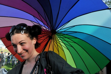One of the gay rights activists takes part in their rally in Saint-Petersburg on May 17, 2012. Source: AFP / East News
