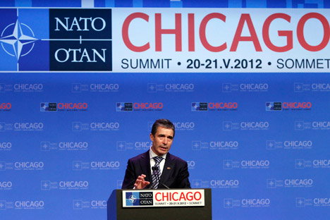 NATO Secretary General Anders Fogh Rasmussen speaks at a news conference during the NATO Summit in Chicago, Monday, May 21, 2012. Source: AP