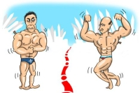 Russia and NATO in hot water. Drawing by Niyaz Karim