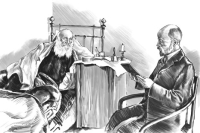 Read Russia. Russia Beyond the Headlines. Leo Tolstoy and his personal doctor, Dushan Petrovich Makovitsky, at Yasnaya Polyana. 1909 Drawing by Dmitry Divin