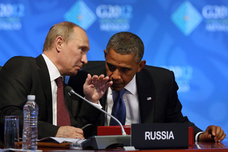 U.S. President Barack Obama and Russian President Vladimir Putin at the G20 summit in Los Cabos, Mexico. Source: AP