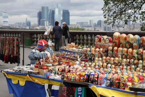 Typical Russian souvenirs include nesting dolls (matryoshki) and models of St. Basil's. Pictured: View Point at the Vorobyovy Gory (Sparrow Hills) in south-west Moscow. Source: RIA Novosti / Vladimir Fedorenko