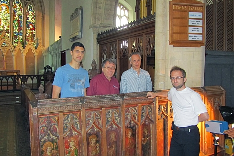 Professors Roman Maev (second left), and Spike Bucklow of Cambridge's Hamilton Kerr Institute (second right) with two Canadian-based graduate students in physics from the University of Windsor, Mo El-Youssef and Dmitry Gavrilov, in the Church of St.