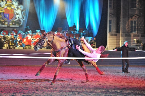 Trick and treat: the Kremlin School riders thrilled the Windsor crowds with their astonishing feats of skill and bravery. Source: Press Photo
