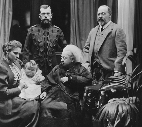 European union: Clockwise from top, Tsar Nicholas II, Edward, Prince of Wales, Queen Victoria and Alexandra Feodorovna (with nine-month-old daughter Olga) at Balmoral in 1896. Source: Getty Images