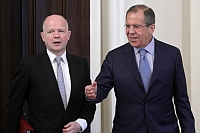 Peace mission: William Hague and Sergei Lavrov in Moscow, where they held a press conference. Source: AP