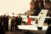 West German amateur pilot Mathias Rust had taken off in a rented light sport plane from an airport near Helsinki, overcome the vaunted Soviet air defense system, and flew 530 miles to land in the heart of the Soviet Union. Source: Press Photo