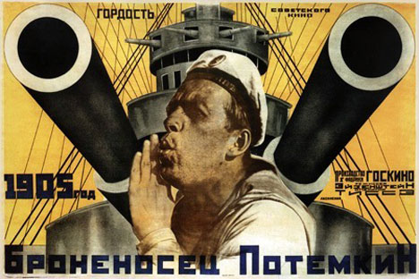 "A poster for the Soviet legendary movie ""Battleship Potemkin"" by Sergei Eisenstein. Source: Press Photo"