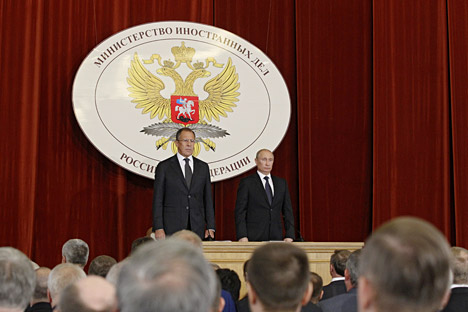 Russian President Vladimir Putin (right) and Russian Foreign Minister Sergei Lavrov (left) during the closed-door meeting in the Foreign Ministry. Source: ITAR-TASS