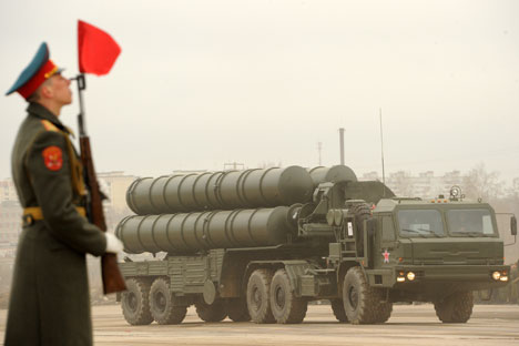 Moscow's refusal to deliver the S-300 missile system brought about the lawsuit from Iran. Pictured: A Russian surface-to-air missile system S-300 PMU2 Favorit rolls during a rehearsal of the Victory Day Parade in Alabino, outside Moscow, on April 18,