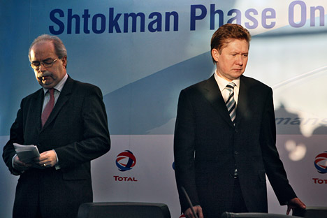 Russian leading energy company Gazprom hopes to complete consultations on the future of its gas field project, Shtokman  Development, with its foreign partners. Pictured: CEO of French energy company Total Christophe de Margerie and Gazprom head Alex