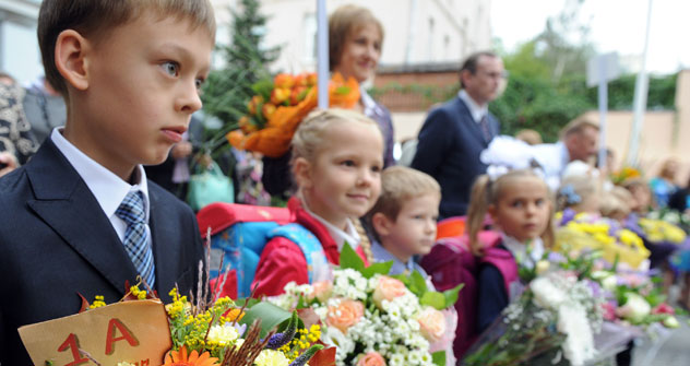 As a rule, Sept. 1 is not a full school day and children can return home once the celebrations have finished. Source: ITAR-TASS.