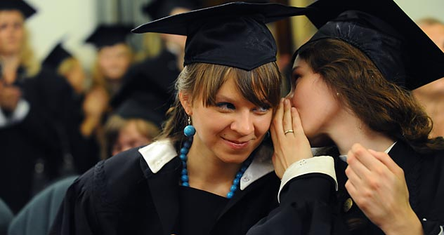 Since the Soviet Union fell, the number of institutes and universities in Russia has increased 10-fold, from 300 to 3,000. Pictured: Commencement ceremony at Moscow State Linguistic University. Source: ITAR-TASS