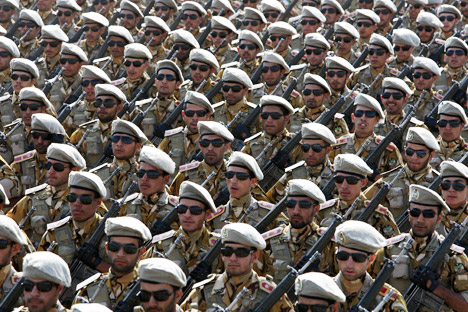 The Army and Navy of Iran have tactical missiles that can effectively strike the marine and land forces of the United States in the region, according to some Russian experts. Pictured: Iranian army members. Source: AP