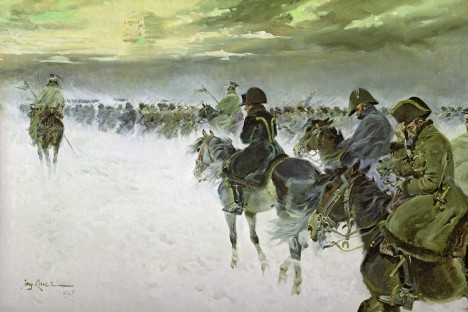 Painting by Russia's XX-century artist Evgeny Kossak depicts Napoleon's withdrawal from Russia. Source: RIA Novosti