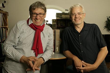 Pictured (L-R): Book collectors Vladimir Semenikhin and Kirill Fesenko. Source: Press Photo