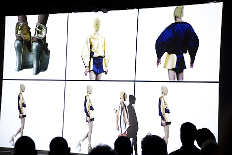 The show, titled Homo Consommatus, included live models improvising in front of the video installation on the pier, but it was the clothes that grabbed the audience. Source: Xenia Grubstein