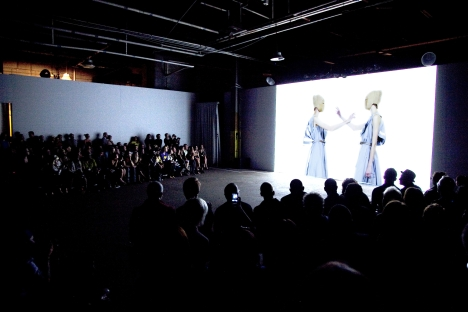 The show, titled Homo Consommatus, included live models improvising in front of the video installation on the pier, but it was the clothes that grabbed the audience. Source: Victoria Janashvili / DEPESHA