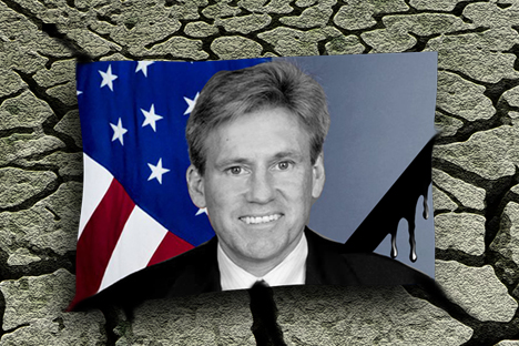 U.S. Ambassador to Libya, Christopher Stevens (pictured), and three members of the embassy staff died in a rocket attack in Libya on Sept. 12, 2012. Drawing by Niyaz Karim