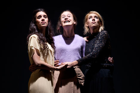 "The Young Vic's brand new ""Three Sisters"" abandons the traditional grammar of Chekhovian parasols and antique furniture in favor of tattoos and tracksuits, handbags and high heels. Source: Press Photo / Simon Annand."