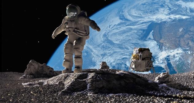 Космонаут на Месечината.