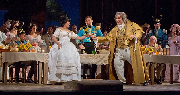 "Anna Netrebko as Adina and Ambrogio Maestri as Doctor Dulcamara in Donizetti's ""L'Elisir d' Amore."" Source: Ken Howard / Metropolitan Opera"