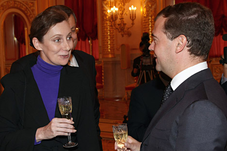 Pictured (L-R): Australian Ambassador in Russia Margaret Twomey and then-President Dmitry Medvedev discussing aspects of bilateral relation between Russia and Australia. Source: ITAR-TASS
