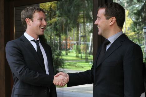 Facebook's billionaire CEO, Mark Zuckerberg, discussed a proposal from Prime Minister Dmitry Medvedev to set up a research center in Russia. Source: ITAR-TASS