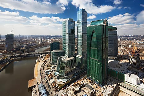 The Kremlin hopes Moscow City (right), Moscow's financial district, will become a global financial hub. Photo by Ilya Varlamov