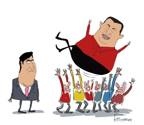 Ugo Chavez and Mikhail Saakashvili. Drawing by Sergei Yolkin