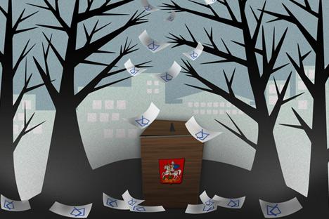 Khimki elections. Drawing by Niyaz Karim