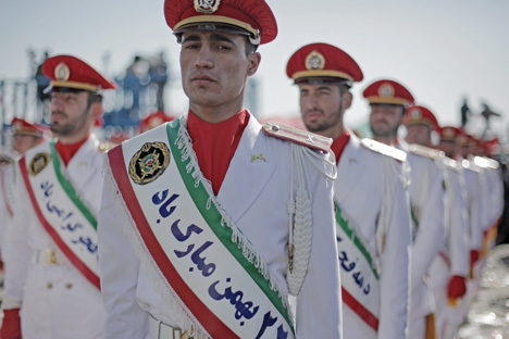 Islamic Revolutionary Guard Corps (IRGC) in parade uniforms during the celebration of the anniversary of the Islamic Revolution in Tehran.