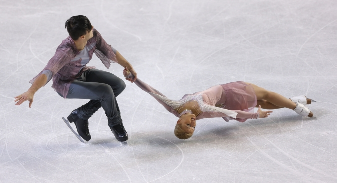 Tatyana Volosozhar and Maxim Trankov of Russia skating during the Skate America competition. Source: Getty Images / Fotobank