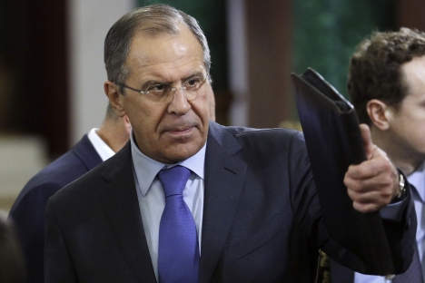 "Sergei Lavrov: ""We are happy with the cease-fire between Israelis and Palestinians, but the cease-fire should not make anyone calmer."" Source: AP"