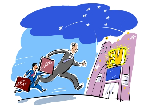 Why the EU has lost the Right to lecture Russia. Drawing by Alexei Yorsh