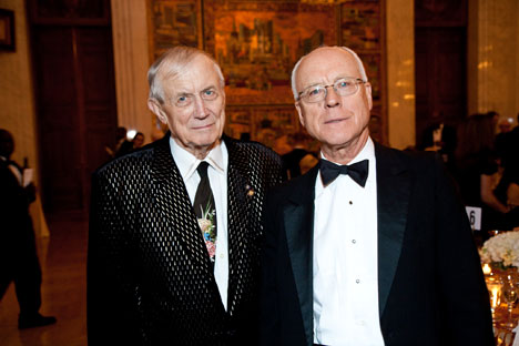 The famous Russian poet Yevgeny Yevtushenko(l) and Alexander Potemkin(r) at the American-Russian Cultural Cooperation's event. Source: Press photo.