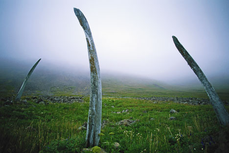 White Alley is a natural monument of ancient Eskimo origin on Yttygrane Island, located in the Strait of Senyavin off the southeastern tip of Chukotka. Source: Getty Images