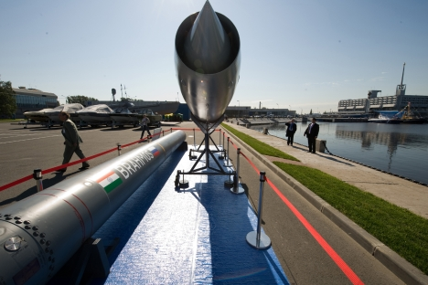 """Pictured: Indian missile """"Brahmos"""" based on Russia's supersonic """"Yakhont"""" rocket. Source: PhotoXPress"""