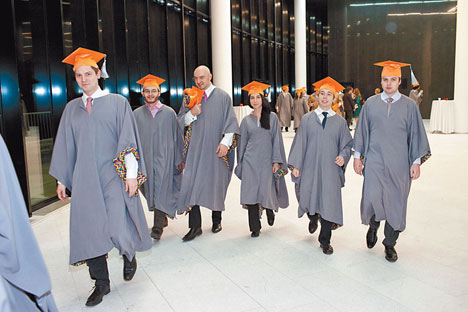 Business class: graduates from the prestigious Moscow School of Management at Skolkovo. Source: Press Photo.