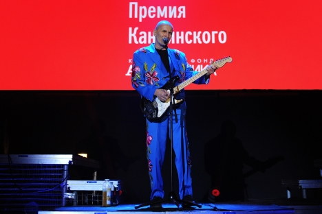 Russia's famous musician Petr Mamonov performing during the ceremony of the Vassily Kandinsky Prize, an independent award for contemporary art, founded in 2007. Source: ITAR-TASS