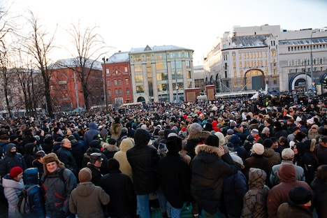 Regardless of the cold weather, Russians took to the streets in central Moscow once again. Source: Ruslan Sukhushin