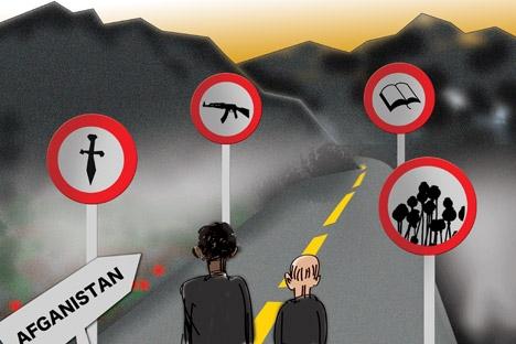 Dialogue with the Taliban. Drawing by Niyaz Karim