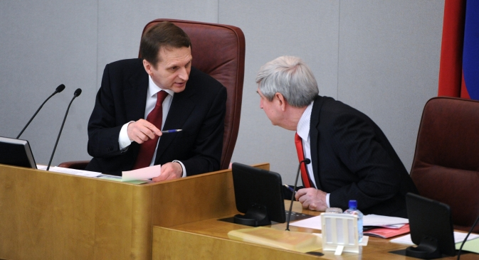 State Duma Speaker Sergei Naryshkin (pictured left) was one of the initiators of the bill retaliating the U.S. Magnitsky Act. Source: ITAR-TASS