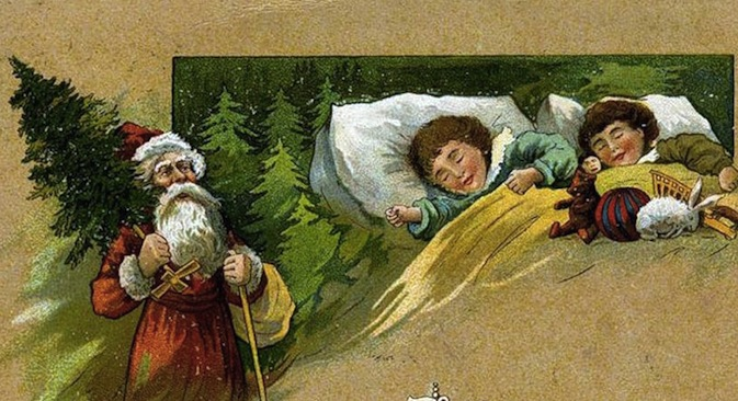 "Russian vintage New Year's postcard made in the early 20th century. It reads ""Merry Christmas!""  Currently, Russia dates Christmas as Jan. 7, in common with the rest of the Eastern Orthodox Church. Source: Public domain."