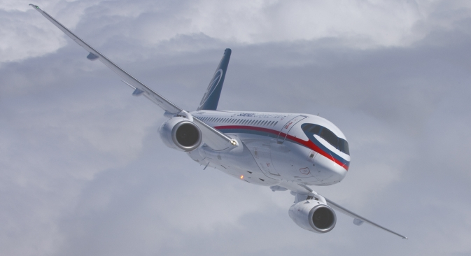 The new Russian civilian airliner Sukhoi Superjet 100 (SSJ).