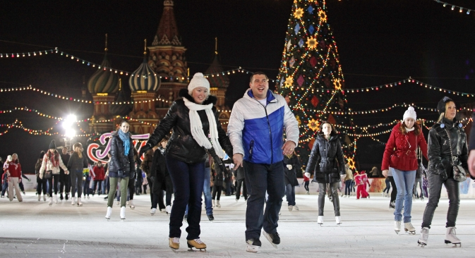 Moscow's central ice rink is on Red Square and adjacent to GUM. Source: ITAR-TASS