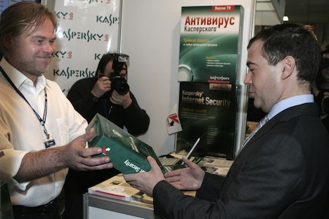 From left: Yevgeny Kaspersky, head of the Kaspersky's Laboratory company, and Russian then-President Dmitry Medvedev attending the Russian Internet Forum 2008 in the Moscow Region. Source: RIA Novosti / Mikhail Klimentyev